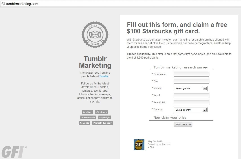 fake tumblr marketing blog leads to viral gift giveaway