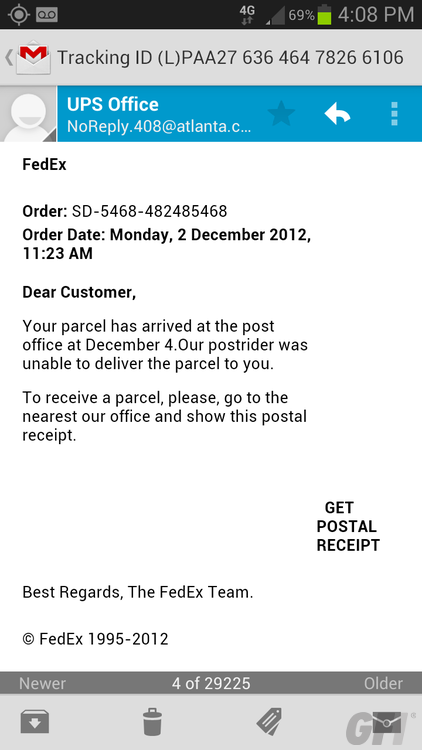 Fake delivery notification gets confused, has nice lie down ...